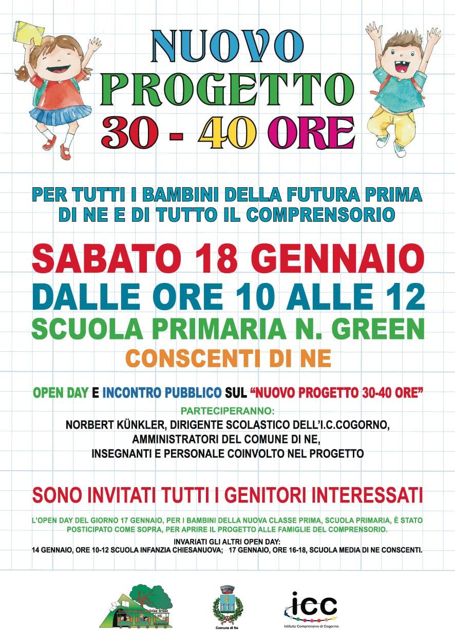 Open Day e Nuovo Progetto 30-40 ore Scuola Primaria